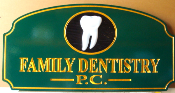 BA11579 – 3D  Carved Family Dentistry Sign, with 24K Gold Leaf Gilding