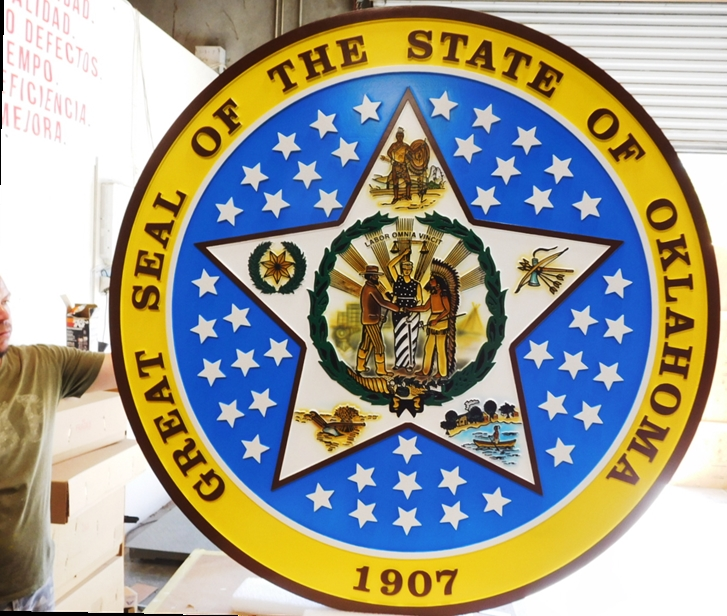 BP-1452 - Carved Wall Plaque pf the Great Seal  of the State of Oklahoma, 2.5-D Raised Outline Relief,  Artist Painted