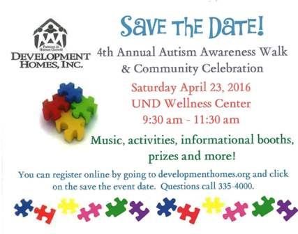 Save the Date: Autism Walk and Community Celebration April 23, 2016 at UND Wellness center