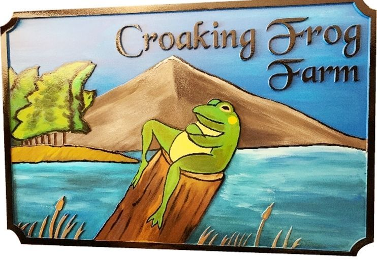 O24619 -  Carved 2.5-D Multi-level HDU Sign for the Croaking Frog Farm, with a Whimsical Frog on a Stump with a Lake and Mountain Background as Artwork