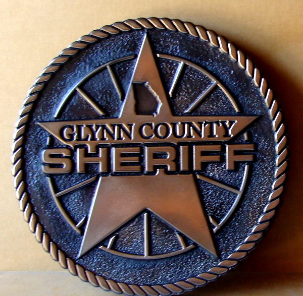 X33429 - 2.5-D Carved Bronze Plaque of for the Glynn County Sheriff, in Texas