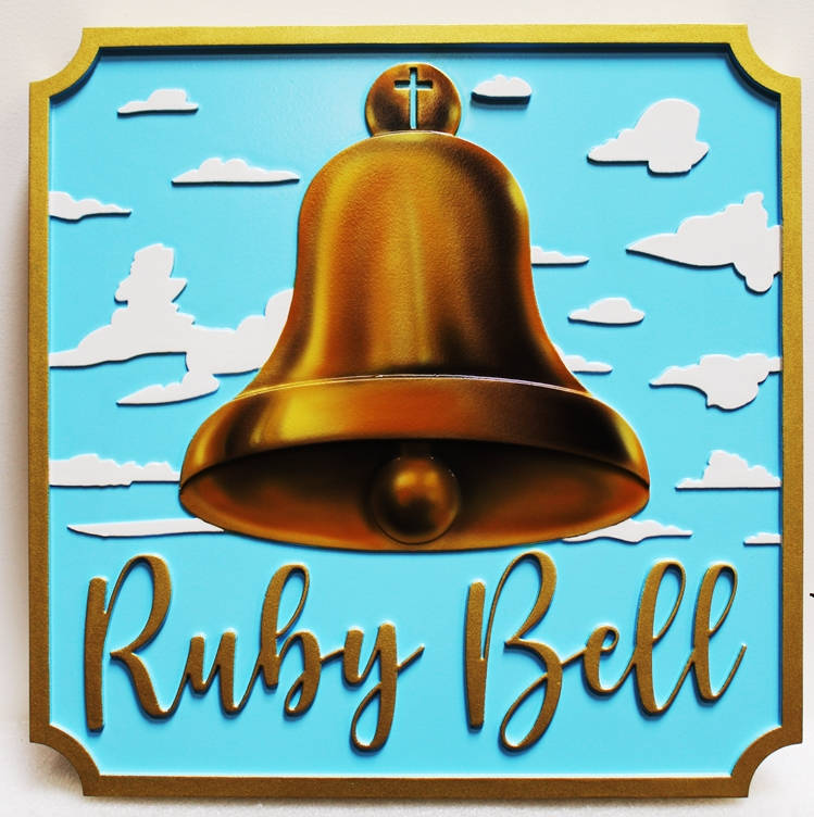 "D13143 -  Carved 2.5D Multi-level HDU Sign ""Ruby Bell""."