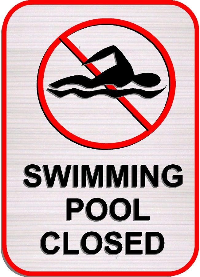 """GB16395 - Carved HDU Sign with Symbol for """"Swimming Pool Closed"""""""