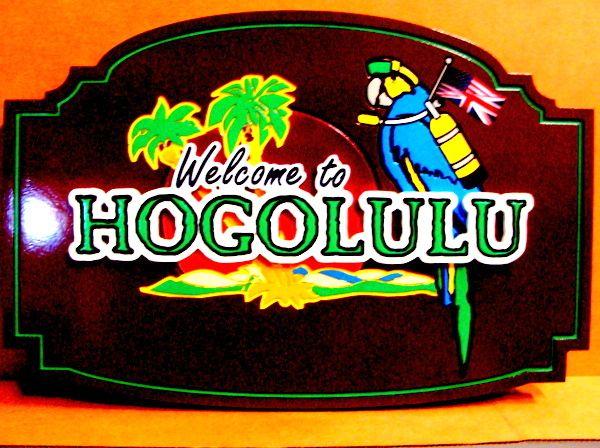 "L21918 - Carved Wood Coastal Residence Sign ""Hogolulu"". with Parrot wearing Scuba Gear"