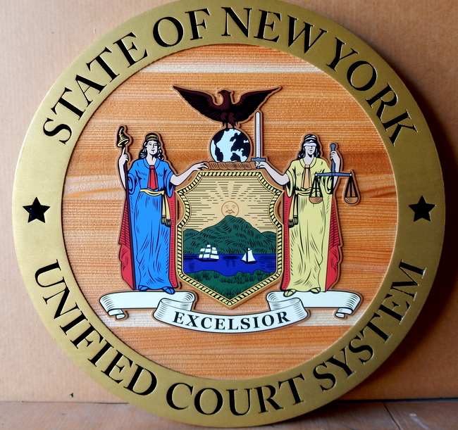 W32370A - 2.5-D Carved Wooden Wall Plaque with the Seal of the State of New York Unified Court System