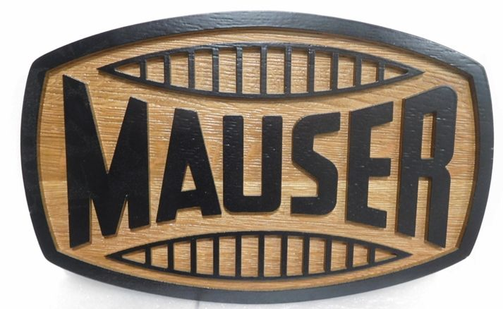 """S28122- Carved  and Sandblasted Cedar Wood  Commercial Sign  for the """"Mauser""""  Company,  2.5-D Artist-Painted"""