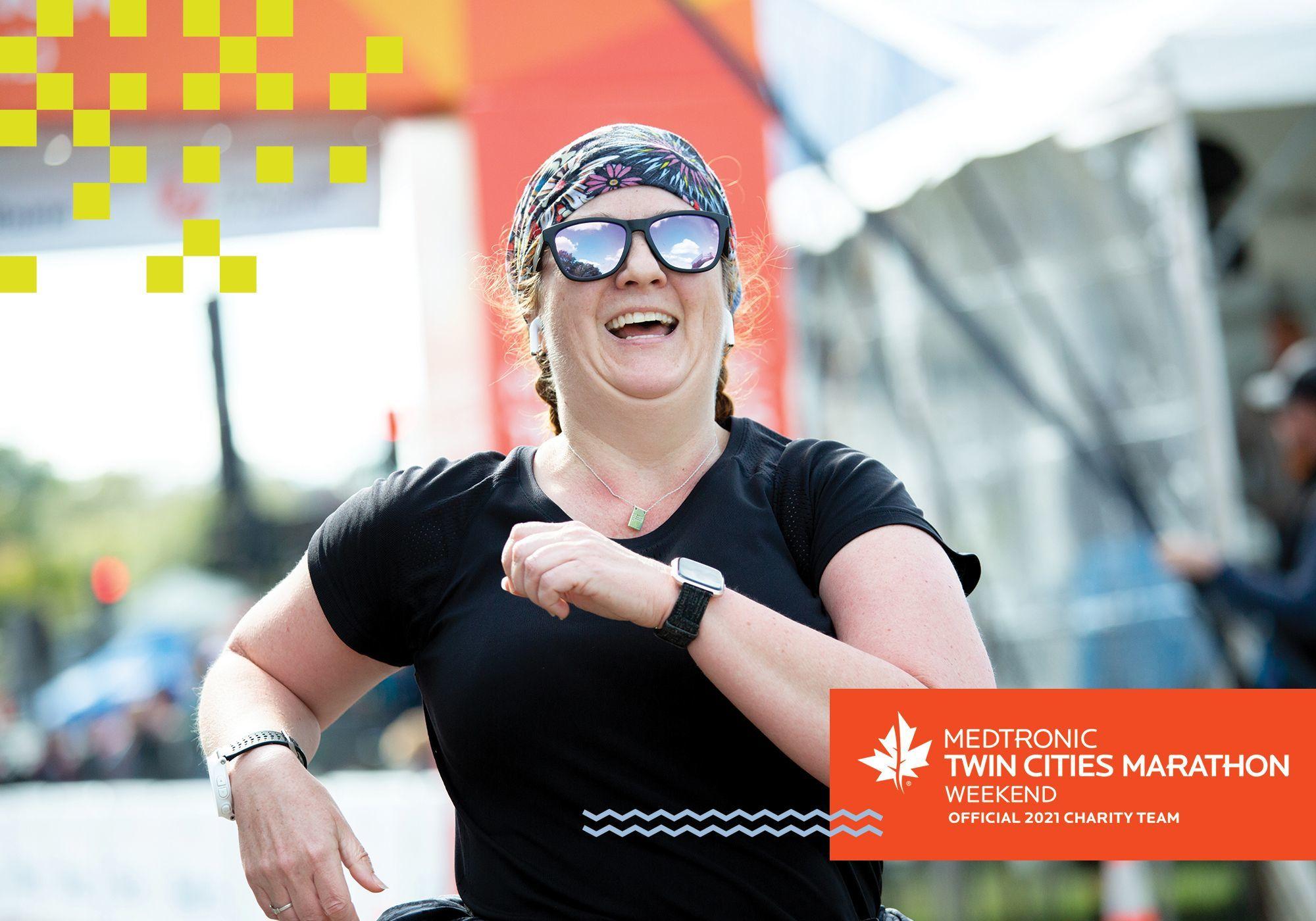 Woman running in marathon