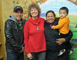 Ruth Riesch,, tutor at Marinette and Oconto Counties Literacy Council, with learners Moises and Gladys and their grandson