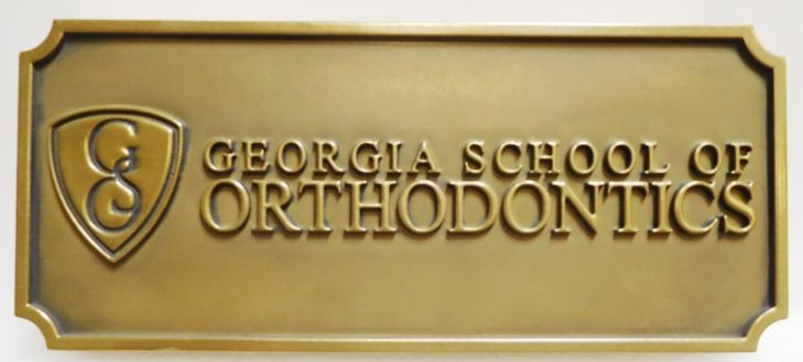 BA11525 - Carved Sign  for the Georgia School of Orthodontics, 2.5-D Brass-plated
