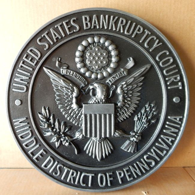 FP-1440 - Carved Plaque of the Seal  of the US Bankruptcy Court, Middle District of Pennsylvania, Nickel-Silver Plated