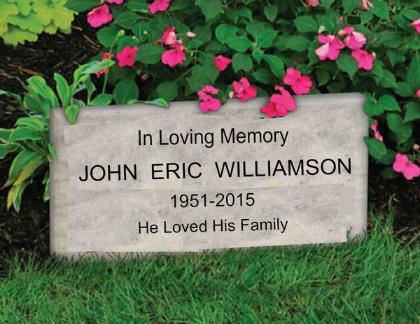 GC16645 - Carved HDU Memorial wall plaque is made to honor theMemory of John Eric Williamson, Stone Finish