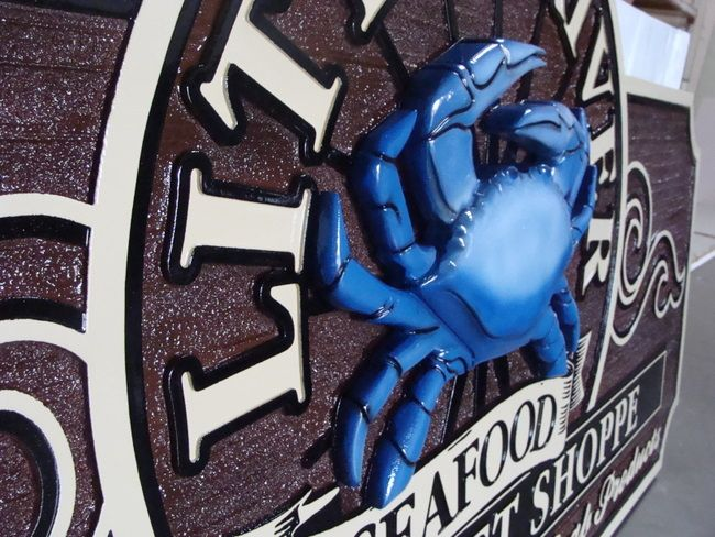 M5422 - Carved Blue Crab on HDU Restaurant Sign