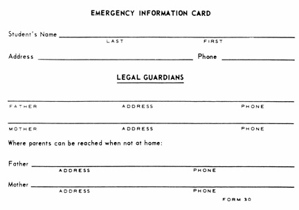 Emergency Information Card