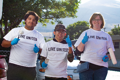 Group of volunteers painting