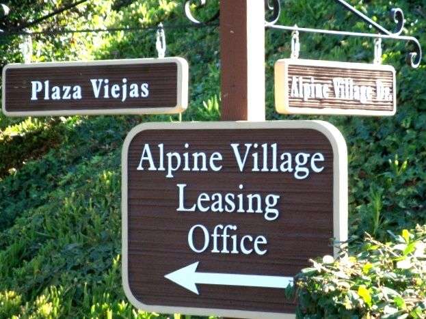 KA20583 - Carved Wood Apartment Wayfinding and Street Name Signs on Wood Post
