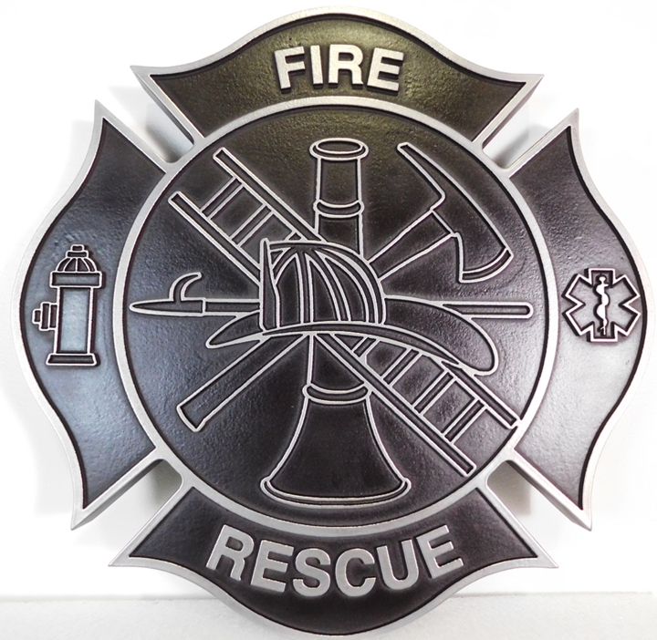 QP-1165 - Carved Plaque of the Badge of a Fire & Rescue Department, 2.5-D Aluminum Plated