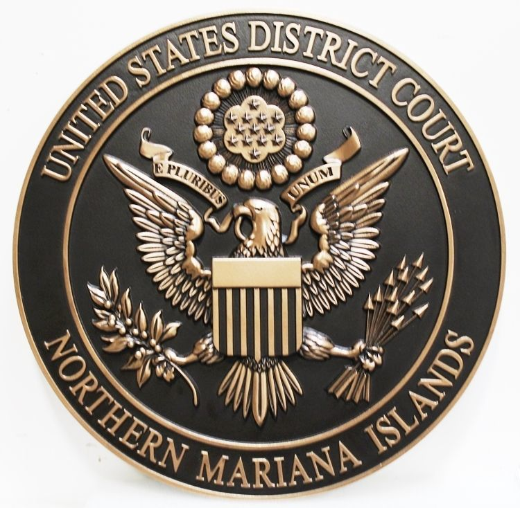 FP-1384  - Carved 3-D Brass-Plated Plaque of the Seal of the United States District Court, Northern Mariana Islands