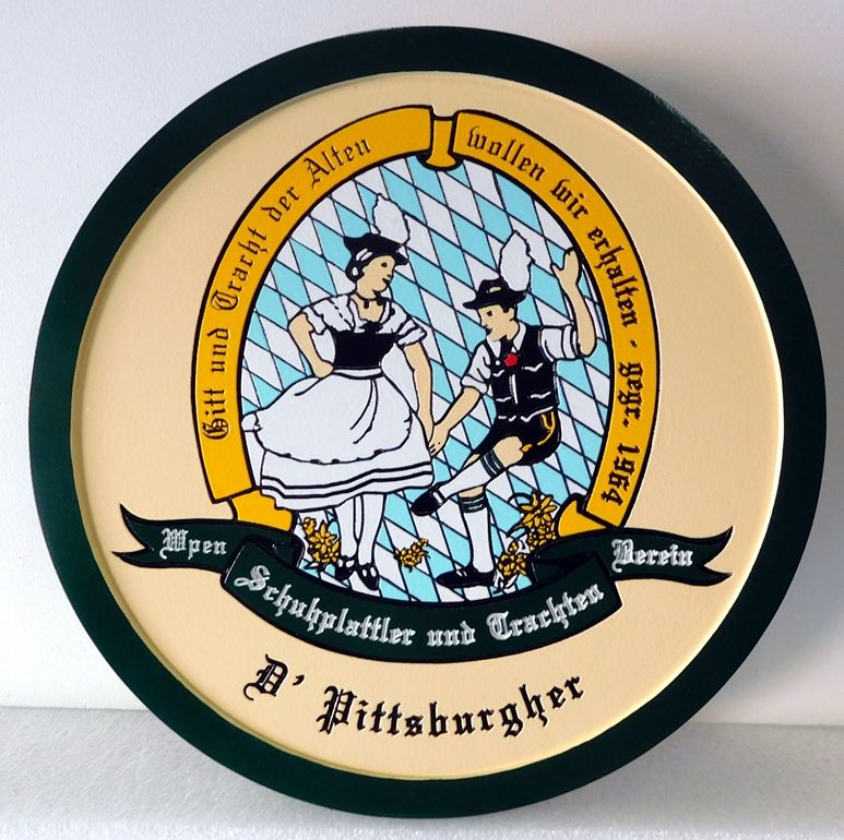 UP3060 -  Engraved Custom Wall Plaque of a Family Wappen, Artist Painted