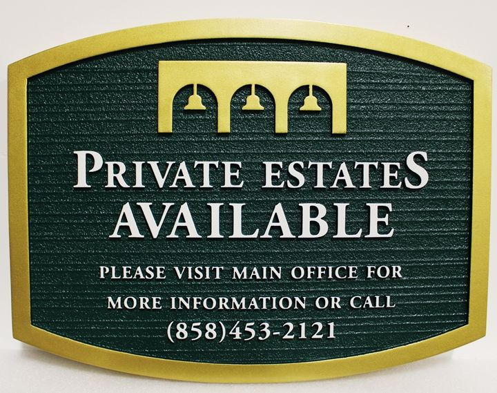 """G16412 - Carved and Sandblasted Wood Grain """"Private Estates Available"""" Cemetery Sign, with Mission Bells as Artwork"""