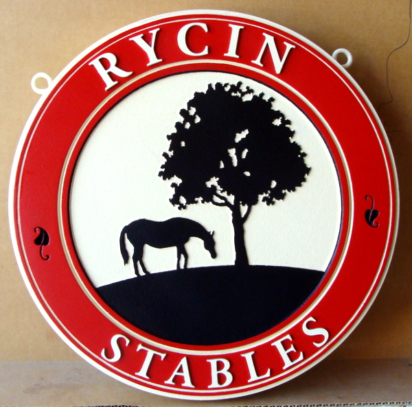 "P25088 -  Carved Round HDU Entrance Sign for ""Rycin Stables"", with Horse and Tree in Silhouette"