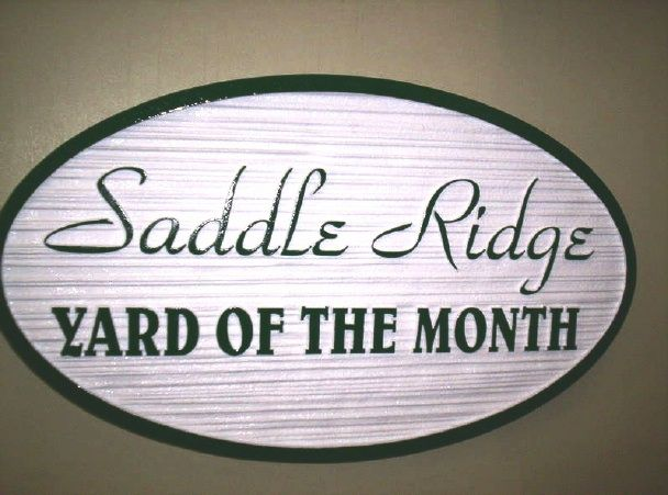 KA20940 - Sandblasted  HDU Yard-of-the-Month Sign for  the Saddle Ridge  HOA (Home Owners' Association)