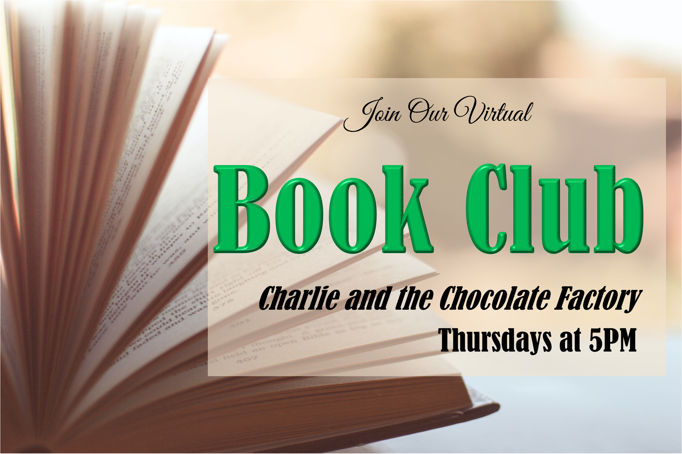 Join our Virtual Book Club, Thursdays at 5PM