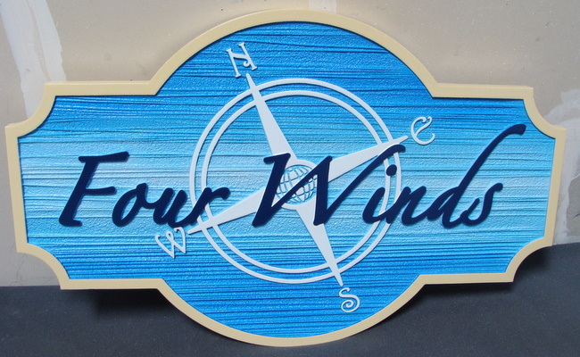 "L21746 - Four Winds Seashore Vacation Home ""Four Winds""  Sign"