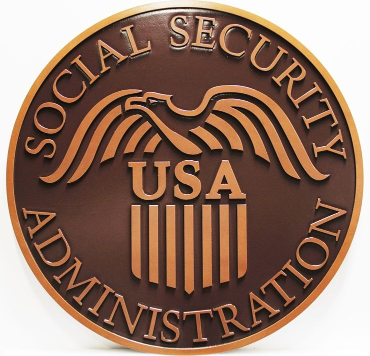 AP-6626 - Carved 2.5-D Raised Relief HDU Wall Plaque Seal of the Social Security Administration, Painted Metallic Bronze