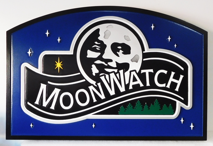 "M22037 - Carved Property Name Sign for ""Moonwatch"" Mountain Home, features a Smiling Moon and Trees as Artwork."