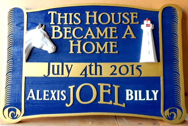 """L21422 - """"This House Became a Home"""" Sign with Carved   Horse's Head  and Lighthouse"""