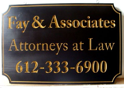 A10168 - Attorney Sign with 24K Gold Leaf Gilded Text