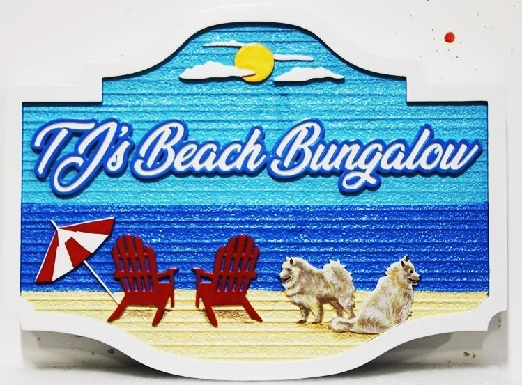 "L21034 - Carved and Sandblasted 2.5-D Multi-level Relief  Beach House Name Sign ""T J's Beach Bungalow"", with Two Chairs and Two Dogs on the Beach as Artwork"