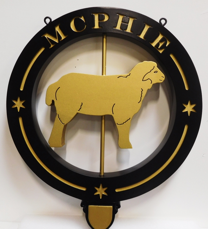 O24425 -  Entrance Sign to the McPhie Farm with a Sheep as Artwork