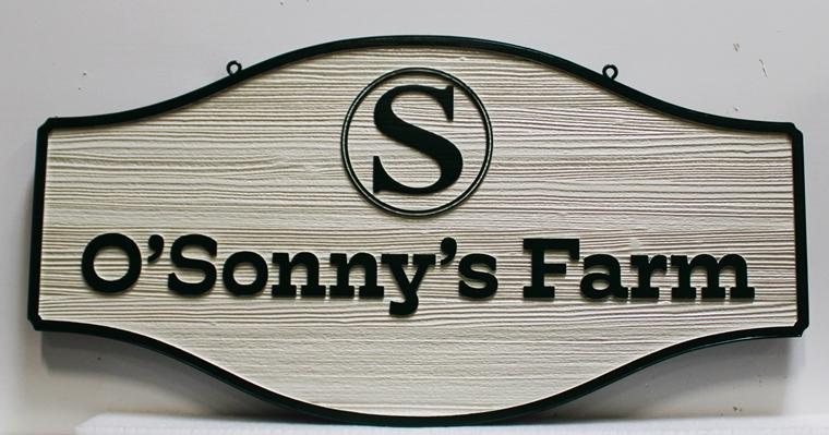 """O24097 - Carved and Sandblasted Cedar woodsign for """"O'Sonny's Farm"""""""
