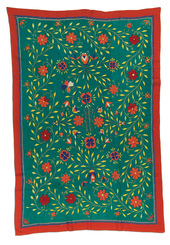 West Bengal Kantha, made by Golcha Here Khatum, probably made in West Bengal, India, circa 1995, 76.5 x 51.5 in, IQSCM 2006.027.0009