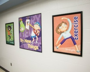 School signs in elementary school showing healthy kid activities, posters for school café, school signs