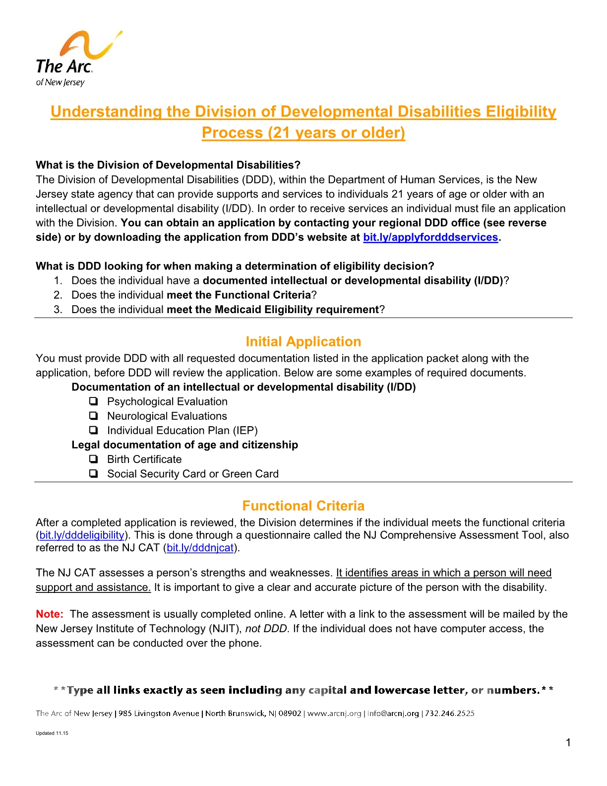 The Arc Of New Jersey Family Institute Resources Fact Sheets