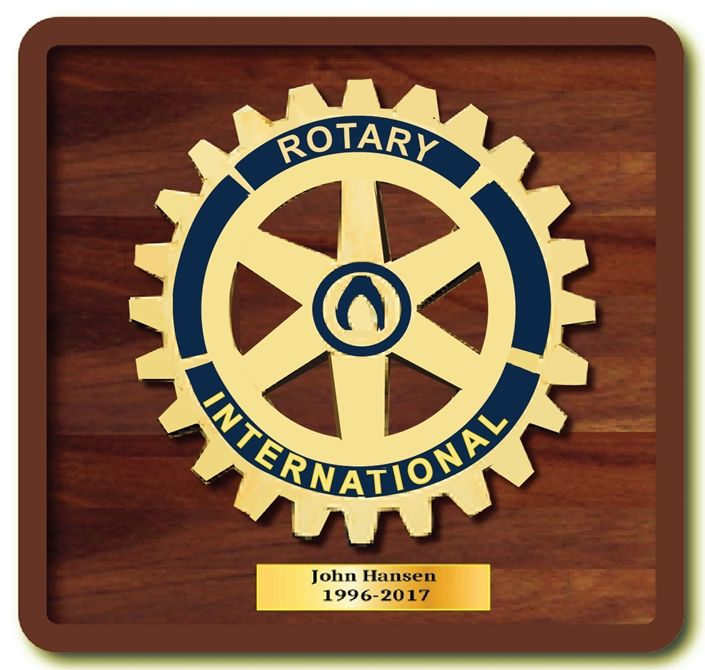 UP-1060 - Carved Wall Plaque of the Emblem of Rotary International , Brass Plated on Mahogany Wood