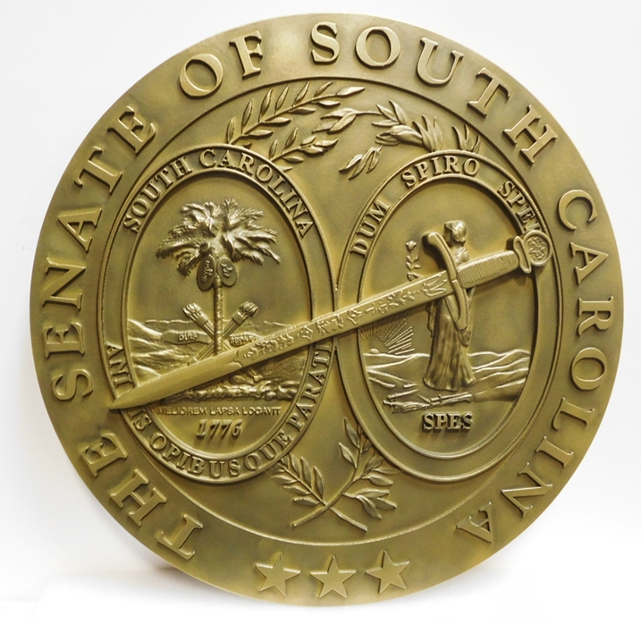 BP-1486 - Carved Plaque of the Great Seal of the State of South  Carolina, Department of Revenue, Brass Plated