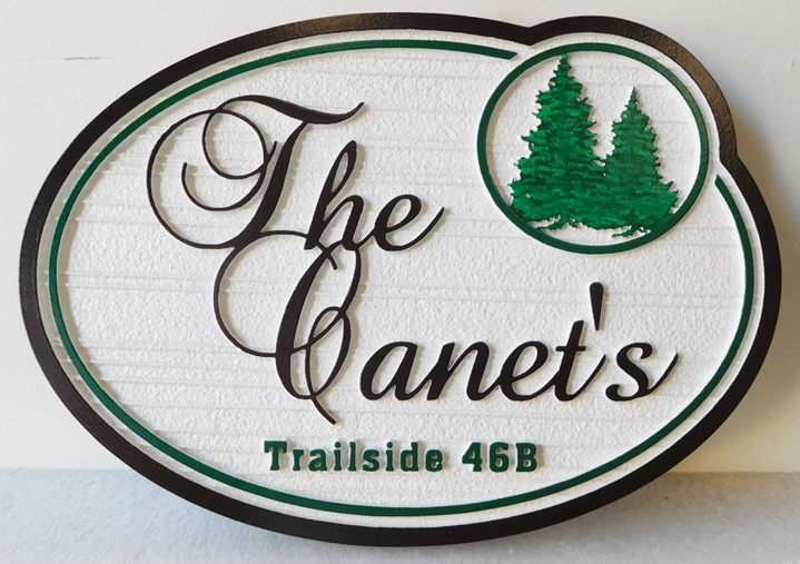 "M22067 - Carved and Sandblasted Cabin Name Sign ""The Canet's"" with Two Fir Trees as Artwork"