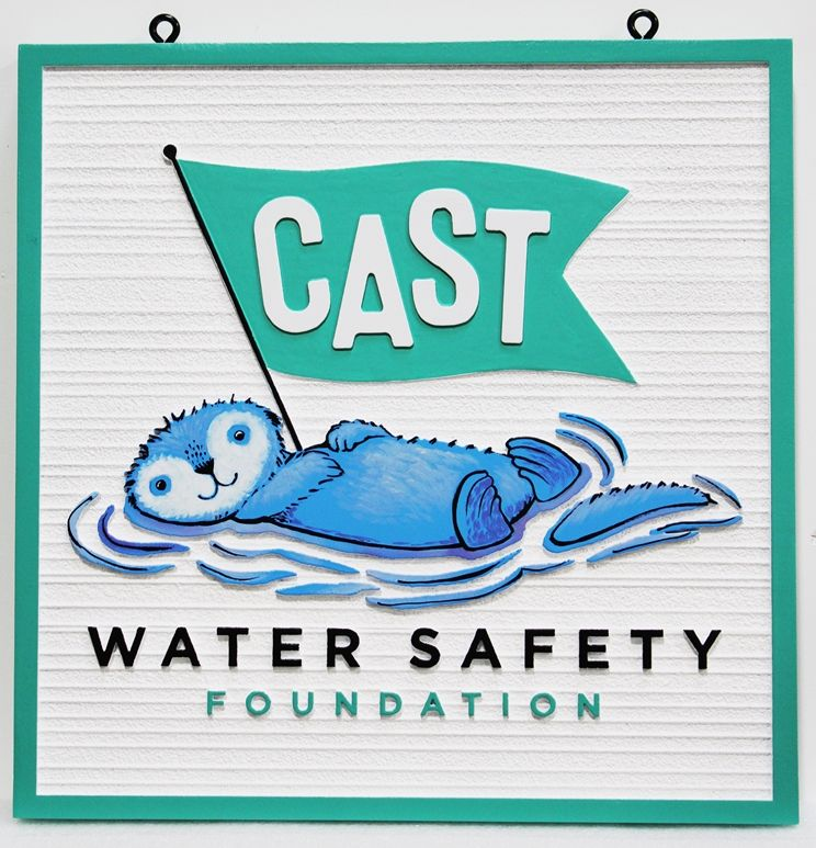 SA28832 - Carved Multi-Level  HDU  Sign  for the Cast Water Safety Foundation, with its Logo (an Otter ) as Artwork