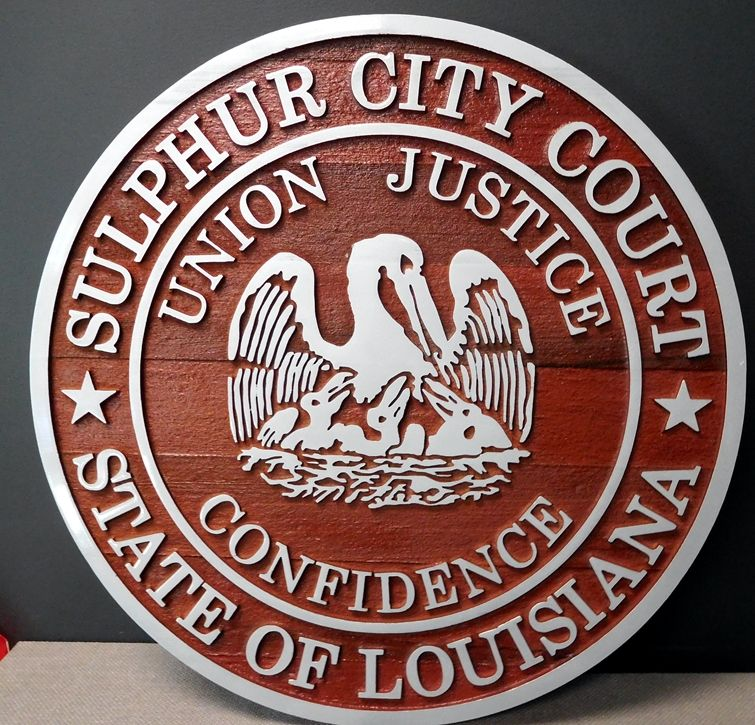 DP-2160 - Carved Plaque of the Seal of the City of Sulfur City, Louisiana,  Aluminum-Clad Redwood