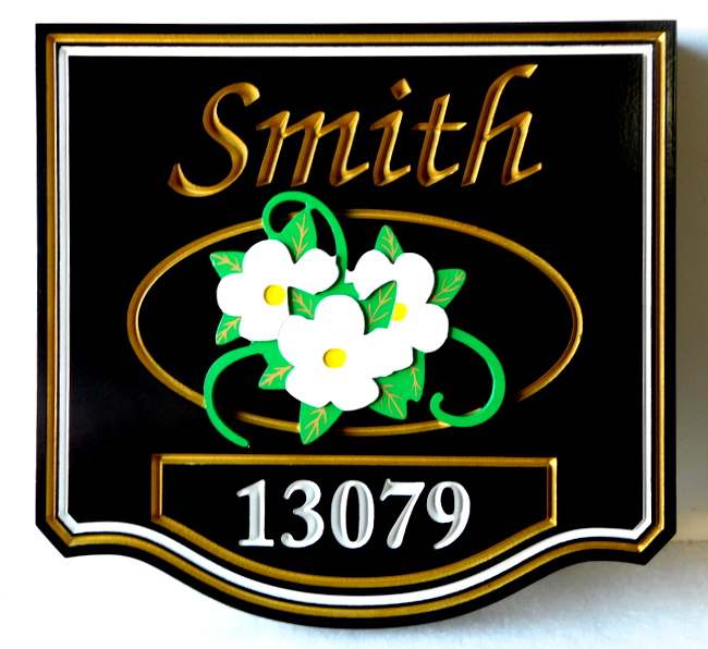I18214 -  3-D HDU Residence Name and Address Sign, with Carved Flower