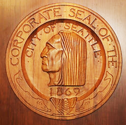 X33176 - Carved Wood Wall Plaque of the Seal of the City of Seattle, Washington