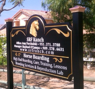 M7344 - Carved 3D Horse Ranch Sign with Gold-Leafed Horse Head and Text