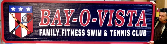 GB16754 - Carved, Wood Grain Pattern, HDU Sign For a Family Fitness Swim and Tennis Club