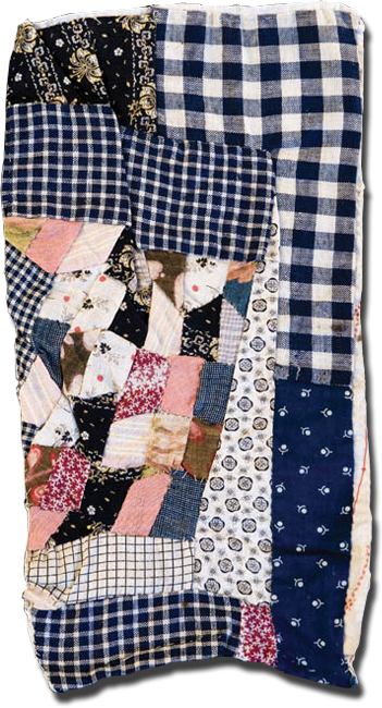 Crazy doll quilt, maker unknown, made in the United States, circa 1890-1910, 11 x 6 in, IQSCM 2008.034.0118