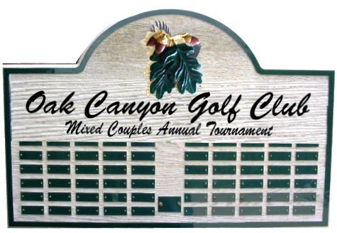 SB1280 - Oak Canyon Golf Club Perpetual  Plaque with Names of  Winners of the  Mixed Couples Annual Tournament, with  Caeved 3D Club Logo, Oak Leaves