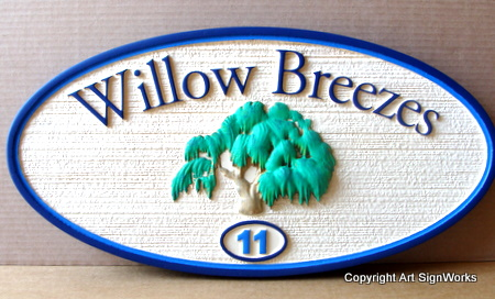 I18308 - House Address Number Plaque with Carved Willow Tree