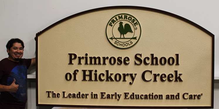 FA15715 -  Carved HDU Entrance Sign for Primrose School of Hickory Creek
